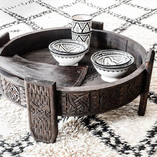 Moroccan Handmade Chakki Table Dark Brown Moroccan Decor