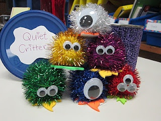 Quiet Critters.  The students that are working quietly get to have a Critter sit on their desk for the rest of the work time.