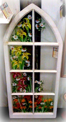 love the vintage window painted with flowers