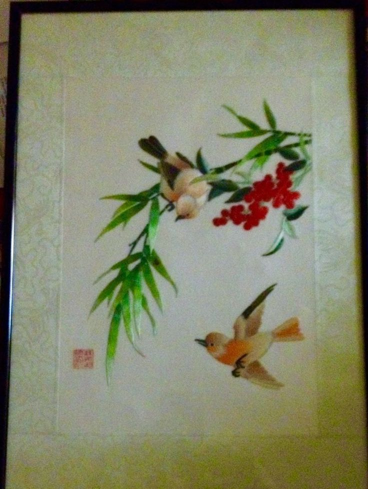 ASIAN PAINTING HAND CUT AND PAINTED WHEAT STALK ON SILK. BEAUTIFUL! #Asian