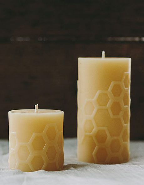Dancing Hexagon Design 100% Beeswax Candles designed and handcrafted by Bees Wax Works - beautiful light, clean smoke and they smell lovely