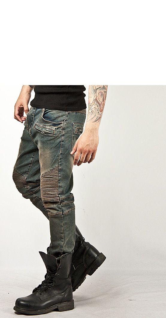 Washed Tough Chic Blue Designer Skinny Biker Jean