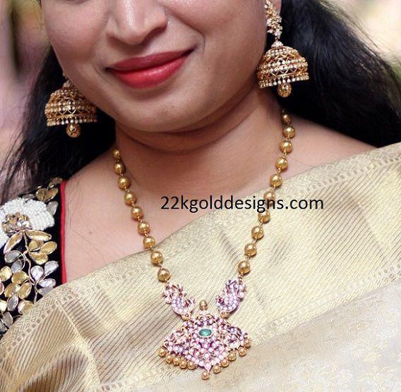 Gold Balls Diamond Pendant Necklace