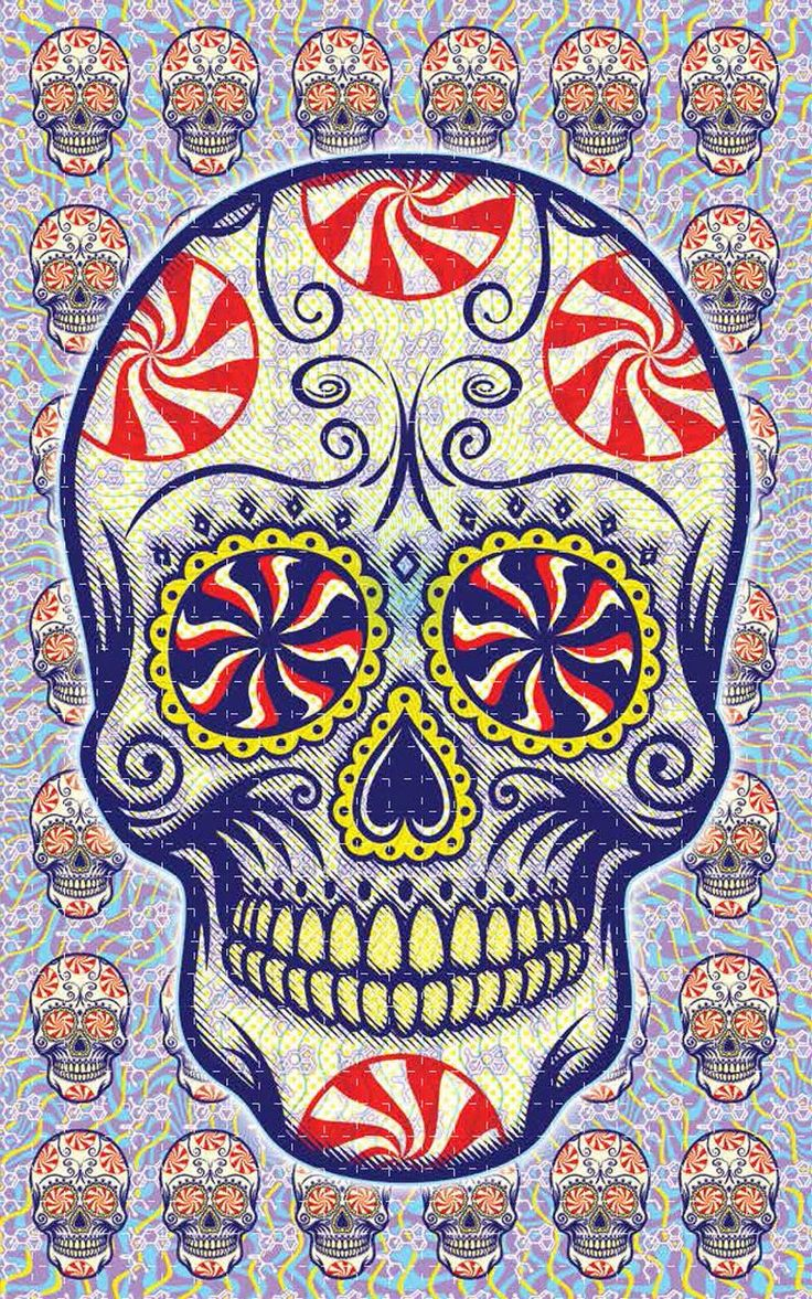Skull Candy: Based on Primus Concert Poster from May 5, 2015, Oklahoma City, OK 6.25 inches by 10 inches perforated into 1,000 quarter inch squares.