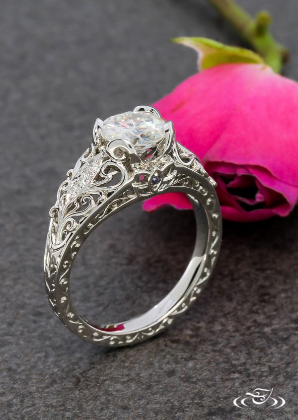 Antique Lotus Flower Engagement Ring #GreenLakeJewelry