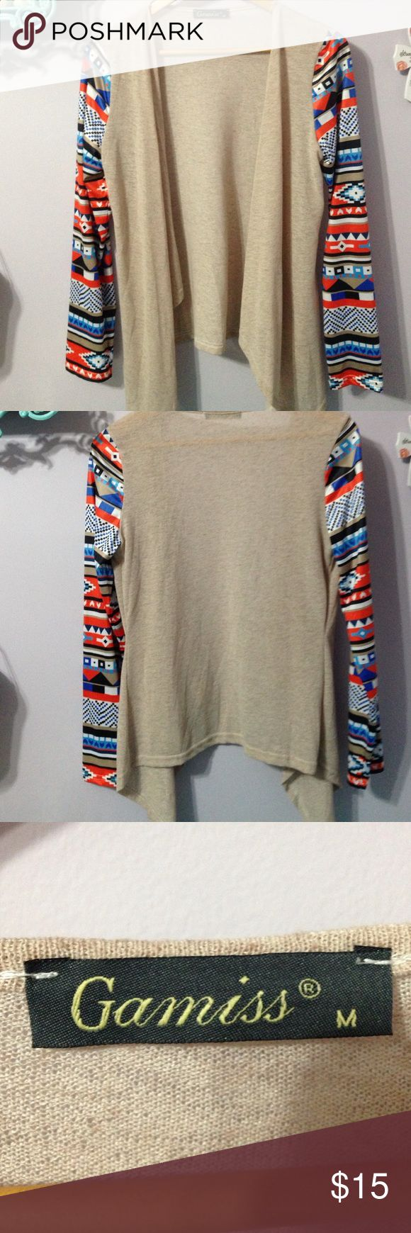 Cardigan with Aztec print sleeves New never worn cardigan, can been dressed up or dressed down. Perfect for any occasion gamiss Tops