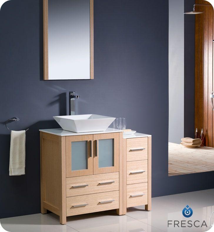 """Fresca Torino 36"""" Light Oak Modern Bathroom Vanity w/ Side Cabinet & Vessel Sink"""
