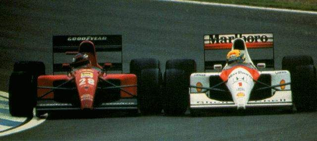 """the professor vs senna.""""  I don't know driving in another way which isn't risky. Each one has to improve himself. Each driver has its limit. My limit is a little bit further than other's."""" -Aryton Senna"""
