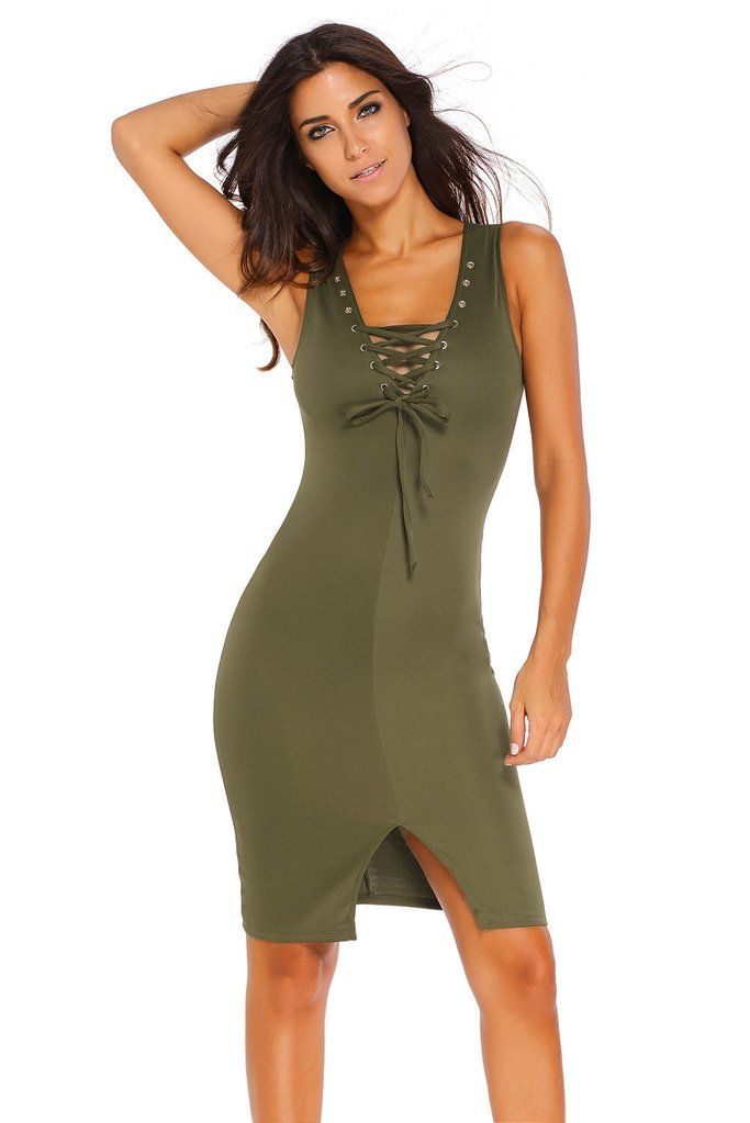 Olive Lace-up Front Midi Dress MB60748-9 – ModeShe.com  92874bee8