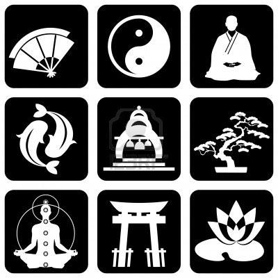 set van pictogrammen van religieuze boeddhisme tekens en symbolen Stockfoto