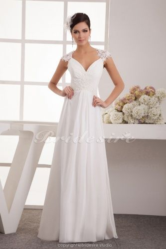A-line V-neck Floor-length Short Sleeve Chiffon Wedding Dress - $158.99
