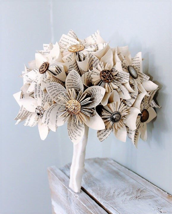 Paper Wedding Bouquet, Alternative Bouquet, Kusudama bouquet, Origami bouquet, Book page flowers, Book page bouquet, Wedding bouquet by TheFlowerGirlSouth on Etsy https://www.etsy.com/ca/listing/175804807/paper-wedding-bouquet-alternative