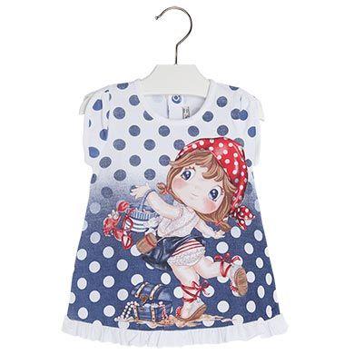 Sukienka. Vestido com serigrafia Azuis