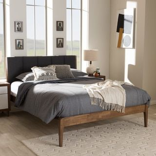 Camille Grey Fabric Platform Bed With Square Tapered Legs King