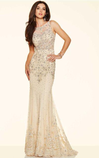 Sheath Scoop Empire Sleeveless Floor-length Prom Dresses