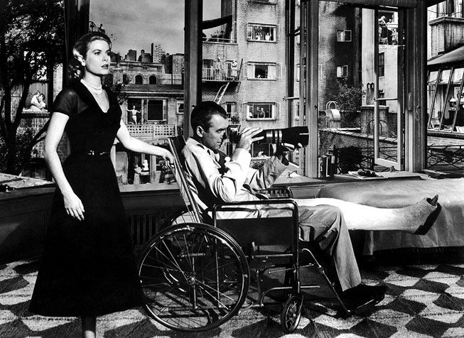 Jimmy Stewart and Grace Kelly in Rear Window. See Vanity Fair's reproduction on my board Visionary.