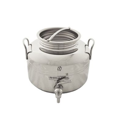 NSF-certified, non-plastic, 18-10 Stainless Steel Dispenser. Superb for home use, storage, and transport of water and other liquids. High quality made in Italy.