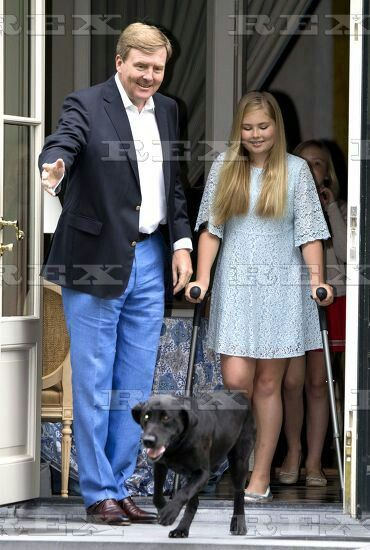 Dutch Royals family photocall, Eikenhorst in Wassenaar, The Netherlands - 08 Jul 2016 King Willem-Alexander and Princess Amalia 8 Jul 2016