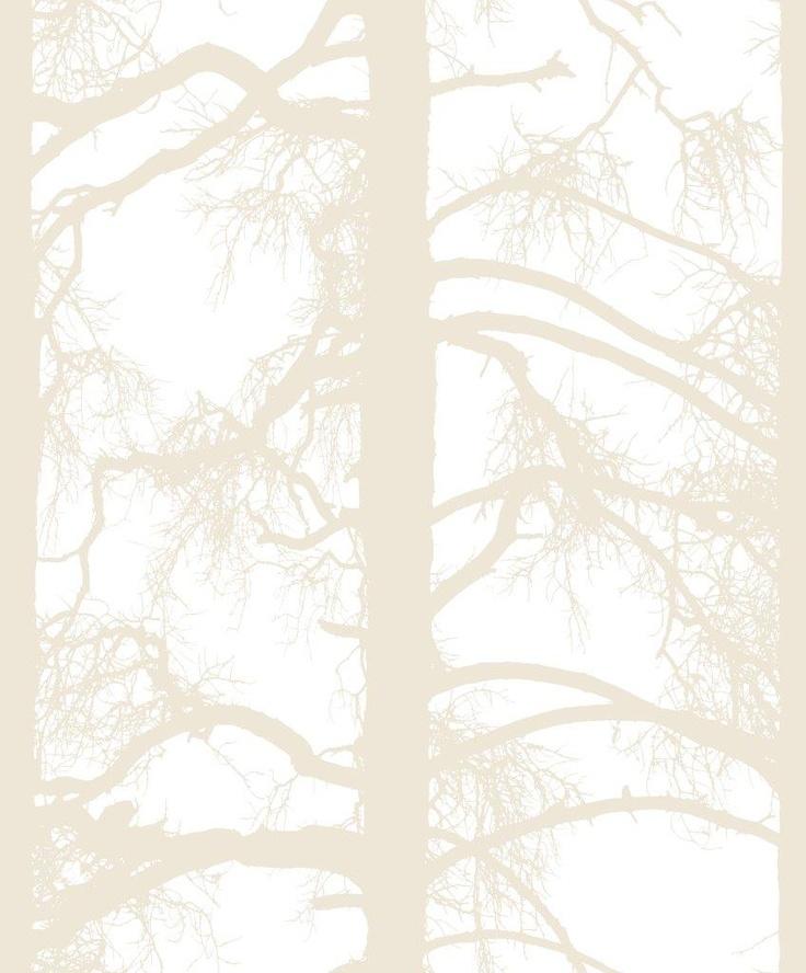 Kelohonka wallpaper, champagne. Design Tanja Orsjoki