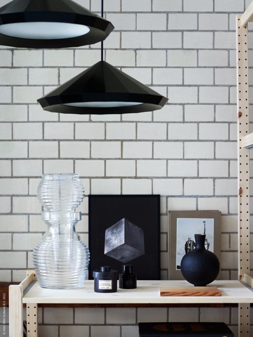 IKEA // Stylist Hanna Meijer / photo Patric Johansson: Pendants Lamps, Black And White, Black Pendants, Subway Tile, Styles Essential, Black White, Grey Grout, Ikea, Hanging Lighting