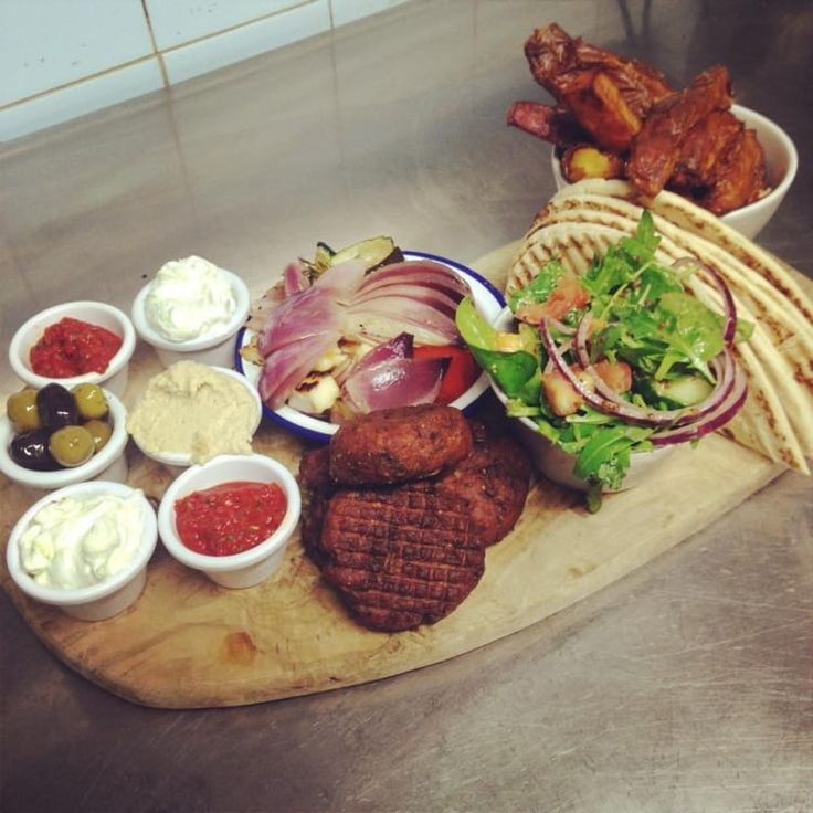 This dish contains possibly the most delicious falafel in Manchester. It's handmade and teamed with hummus, olives, pitta, grilled halloumi, sweet potato wedges and pots of harissa and tzatziki. It's tempting not to share.