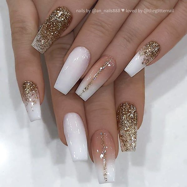 Theglitternail Get Inspired On Instagram White French Fade And Gold Glitter On Coffin Nails Gold Acrylic Nails Gold Glitter Nails Coffin Nails Designs