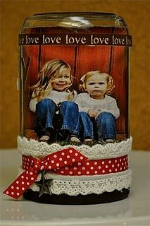 Cute homemade snowglobe....gifts for parents - Perfect.