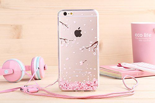 Aprtwin Étui Transparent en TPU Silicone pour Apple iPhone 6 / 6S en Transparent Fleur de Prunier Design[Style 01]