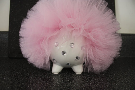 Small Baby Girl Pink Bling Piggy Bank by Swoopadaisies on Etsy, $15.00