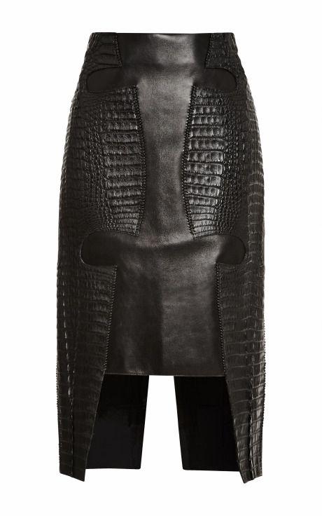 Croc And Leather Croc Hide Skirt by Dion Lee - Moda Operandi