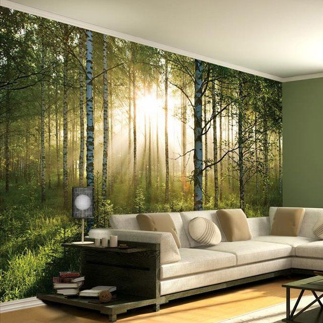 Summer Forest Wall Mural Comes In 4 Easy To Hang Wallpaper Pieces With On Dimensions Of X The Can Be Trimmed Or Used Center A