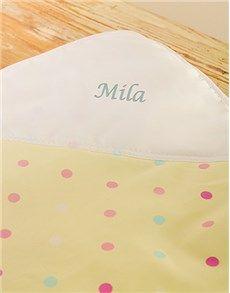 Personalised Gifts - Baby: Yellow Poka Dot Personalised Blanket!