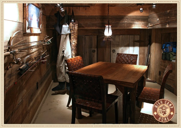 Rustic man cave by high camp home man cave ideas for Fishing man cave
