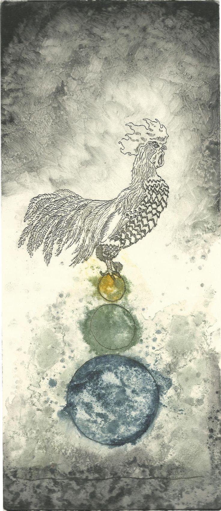 Seppo Alanissi - Kukko I / Rooster I, 2012, etching, monotype