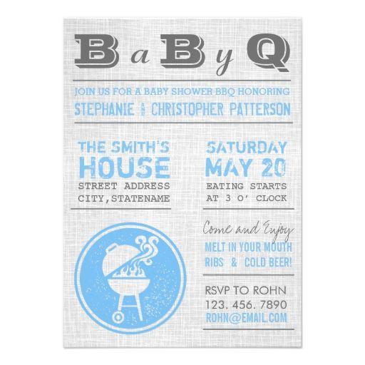 Vintage Blue Gray BBQ Boy Baby Shower Invitations Invite