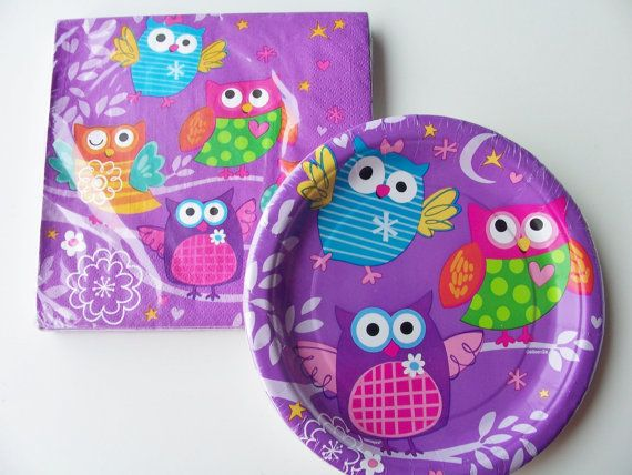 Set of owl themed paper plates and napkins - birthday party supplies - purple owl birthday decorations - owl theme on Etsy, $10.50
