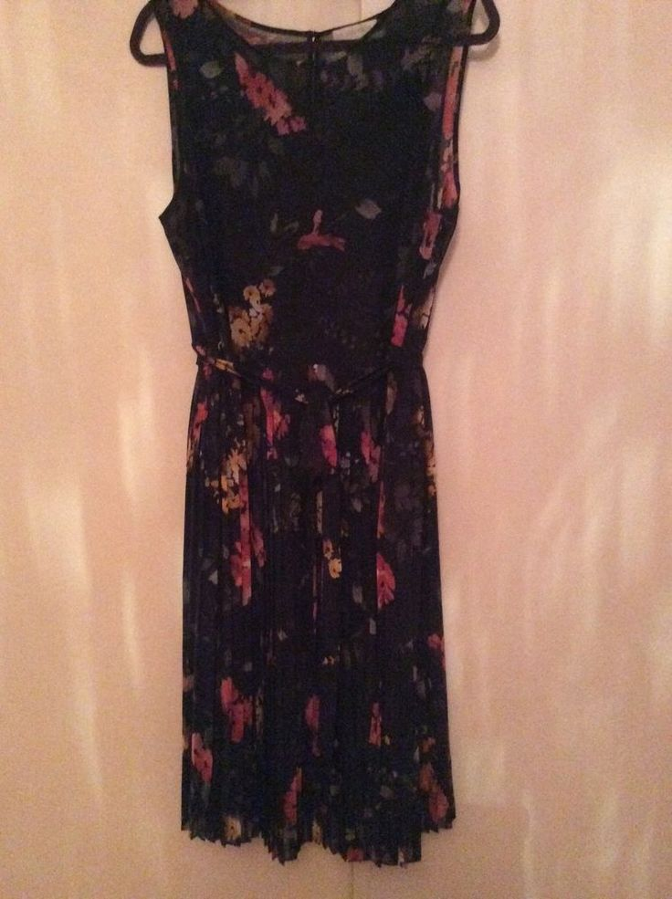 Navy blue pleated floral dress, chiffon fabric with cotton slip | Clothes, Shoes & Accessories, Women's Clothing, Dresses | eBay!