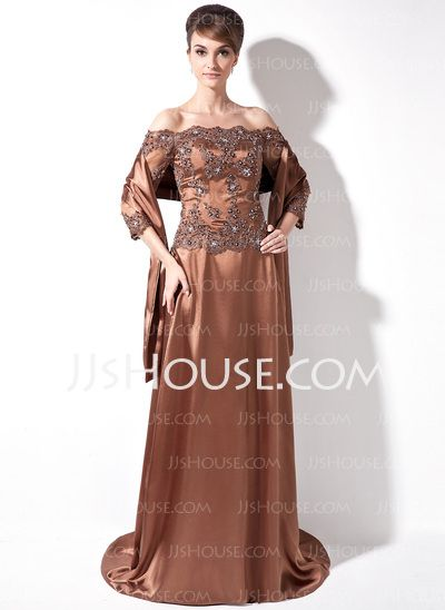 Mother of the Bride Dresses - $158.99 - A-Line/Princess Off-the-Shoulder Sweep Train Tulle Charmeuse Mother of the Bride Dress With Lace Beading Sequins (008006171) http://jjshouse.com/A-Line-Princess-Off-The-Shoulder-Sweep-Train-Tulle-Charmeuse-Mother-Of-The-Bride-Dress-With-Lace-Beading-Sequins-008006171-g6171