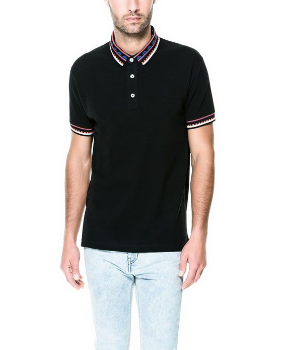 JACQUARD COLLAR POLO SHIRT - T - shirts and Sweatshirts - Man   ZARA United States
