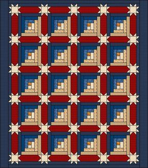 Log Cabin Quilt Pattern – Log Cabins with Star Sashing – Queen Size: 89″ – 107″