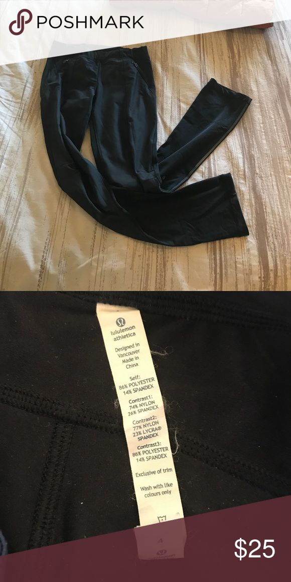 Black winter weight lulu pants Nice for a windy day. Black lulu pants with weather fabric on the front. Only worn a couple times. lululemon athletica Pants Track Pants & Joggers