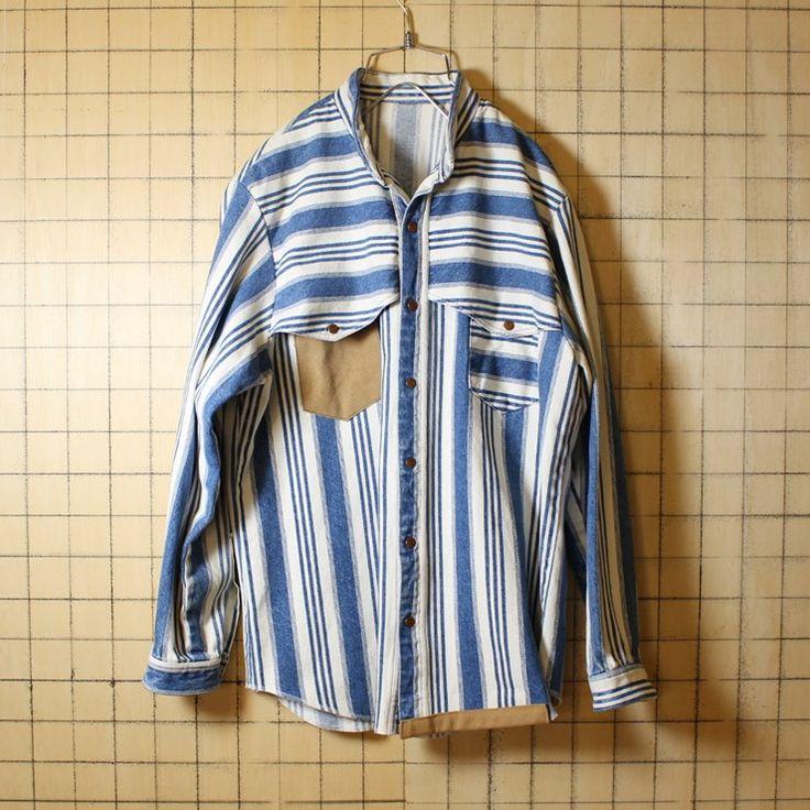 ataco Remake アメリカ古着 ノーカラー ブルー ホワイト ストライプ デニム シャツジャケット Lサイズ相当 ウエスタン調