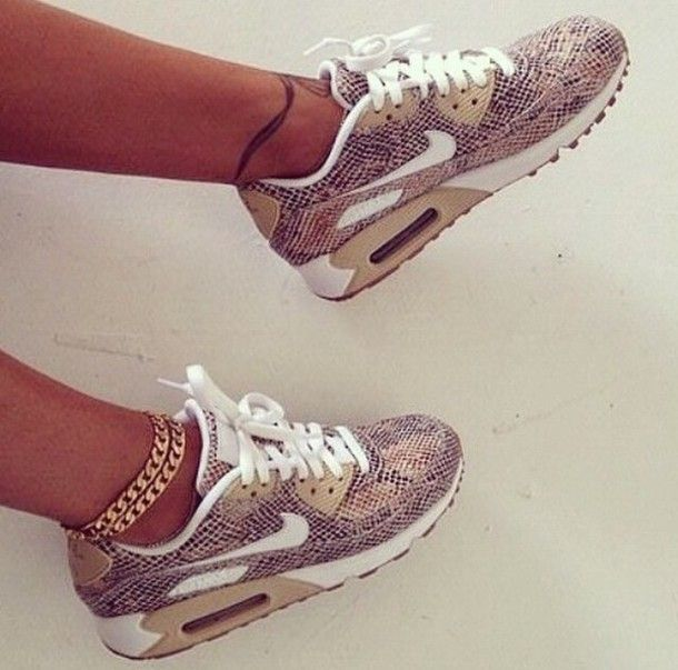 Nike Air Max 90 Leather Women's Running Sneakers in Snakeskin