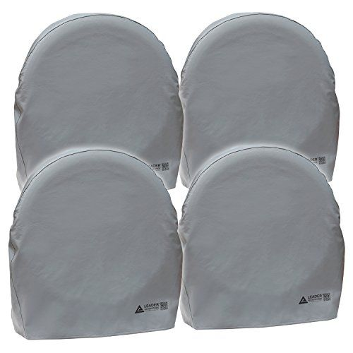 """Leader Accessories 4pcs RV Tire/ Wheel Covers Camper Car Trailer Truck Fits (32""""-34.5"""") in Dia. From Side To Side  Fits 32""""-34.5"""" in daimeter  Protect the tires and wheels from sun, dirt, corrosion and all types of weather while your vehicle is parked  High quality heavy-duty vinyl, thickest material in the market. With non-scratch soft backing.  Eyelet with cord ensures more secure fit  Fast and easy slip-on design"""