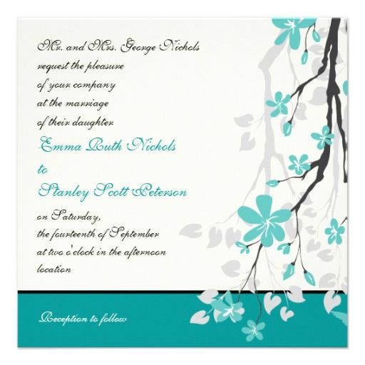 Magnolia Branch Turquoise Wedding Invitation
