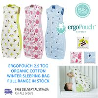 The ergoPouch 2.5 tog organic cotton sleeping bag keeps baby just the right temperature. This ultra-soft baby sleeping bag is made with premium, 100% organic materials to protect sensitive skin, and is snug for security while roomy enough to allow free movement and cozy sleep.