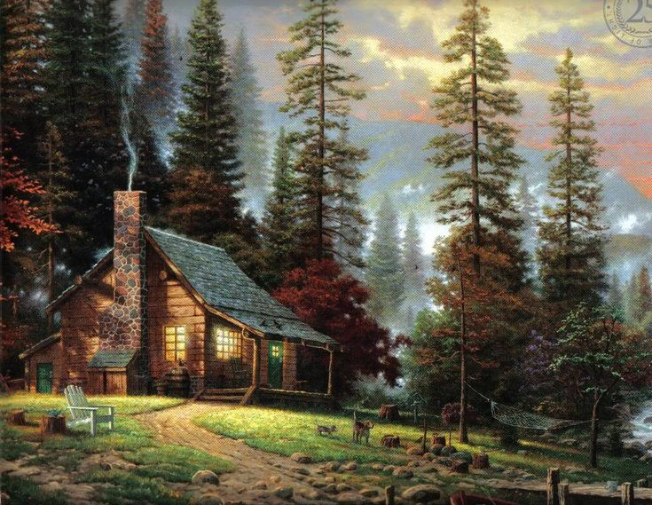 Log cabin paintings bing images for Log cabin painting