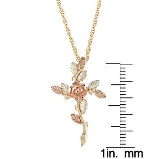 Black Hills Gold Rose Cross Necklace | Overstock.com