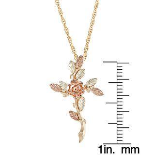 Black Hills Gold Rose Cross Necklace | Overstock.com