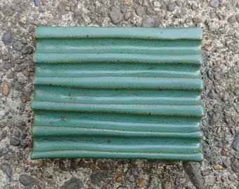 Keramische Zeepschaal - Turquoise Zeepschaal, blauw groene zeep schotel, handgemaakte zeep schotel